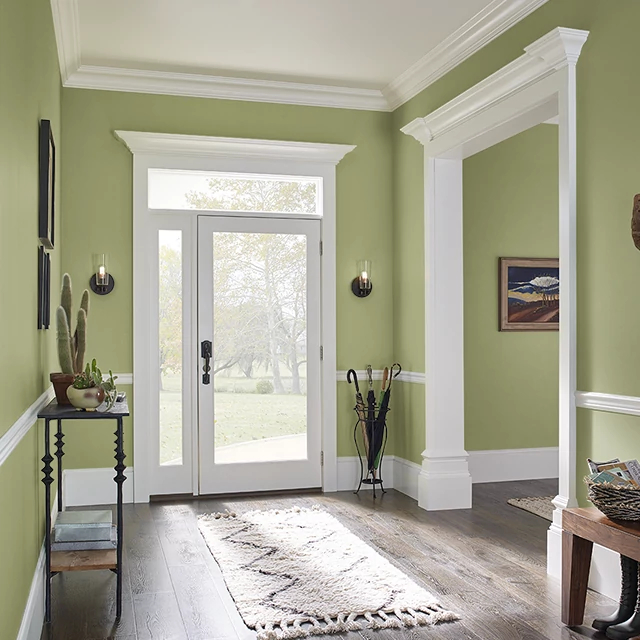 Foyer painted in RETRO LIME