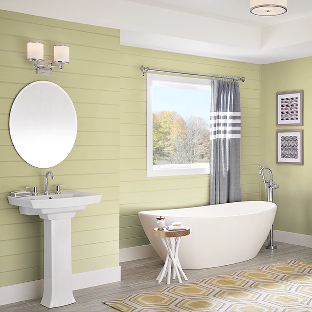 Bathroom painted in CUCUMBER