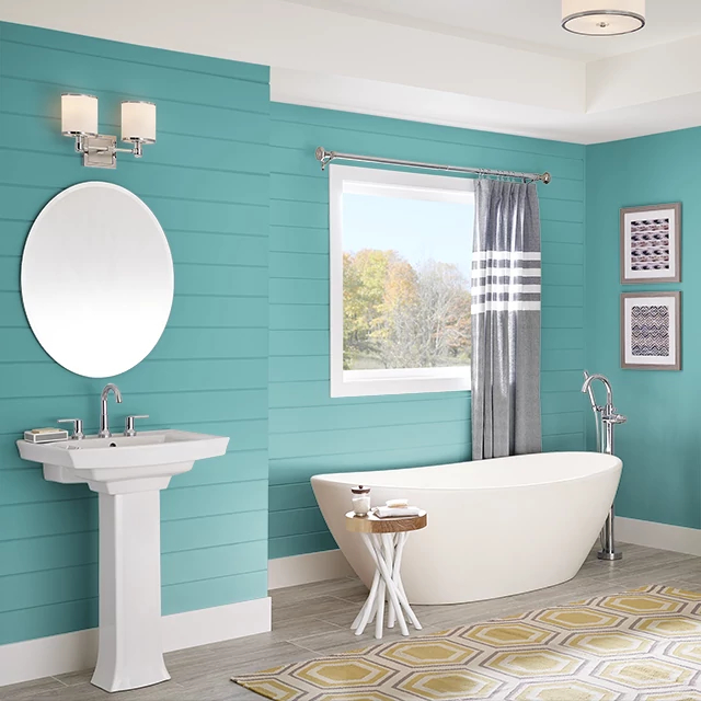 Bathroom painted in DEEP TURQUOISE