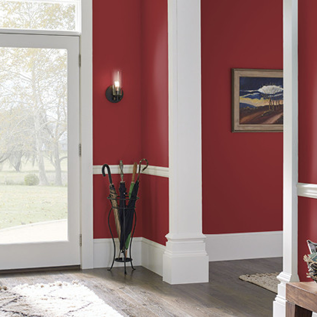 Foyer painted in HAUTE RED