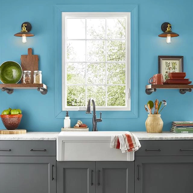 Kitchen painted in VINTAGE SAPPHIRE
