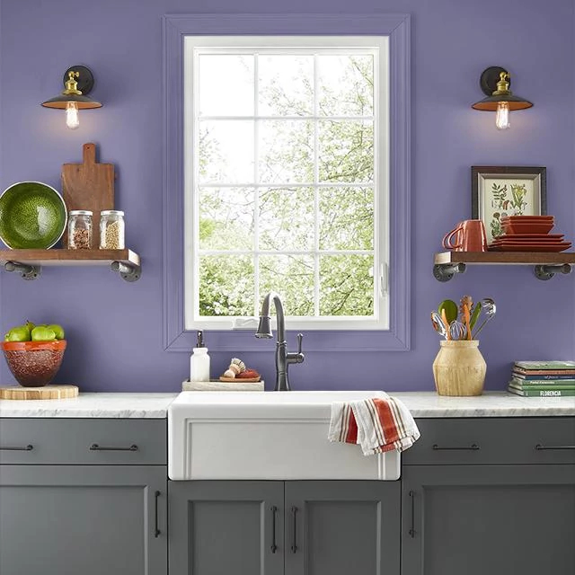Kitchen painted in PURPLE