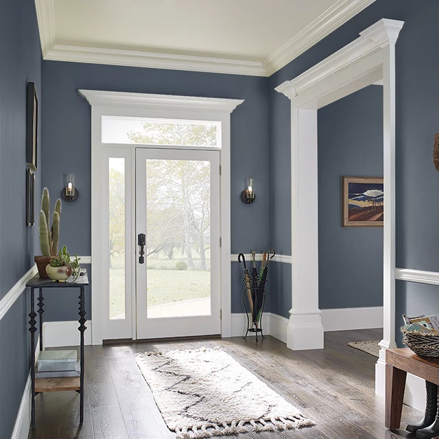 Foyer painted in PRUSSIAN BLUE