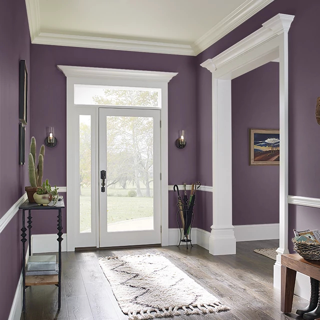 Foyer painted in EGGPLANT