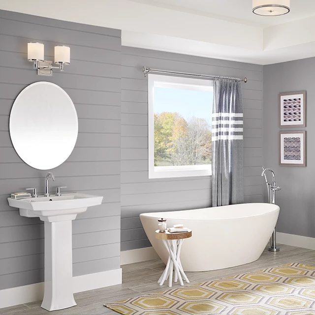 Bathroom painted in PIGEON GRAY