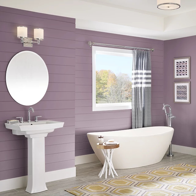 Bathroom painted in BURGUNDY FROST