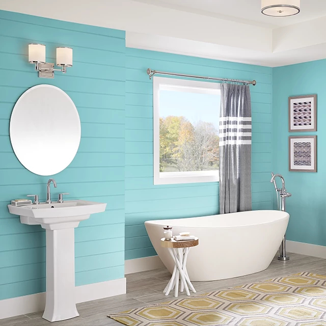 Bathroom painted in CLASSIC TURQUOISE