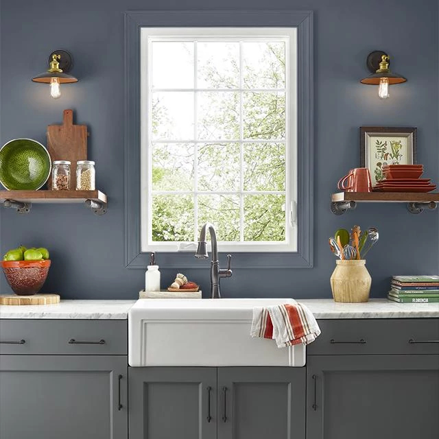 Kitchen painted in PRUSSIAN BLUE