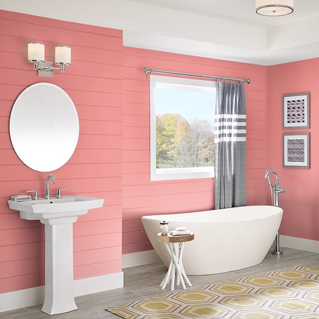 Bathroom painted in RUFFLE PINK DRESS