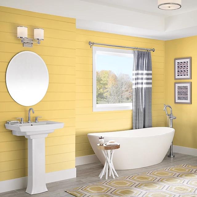 Bathroom painted in LEMONETTE