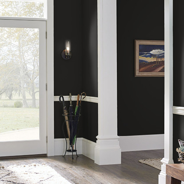 Foyer painted in DEEP ONYX