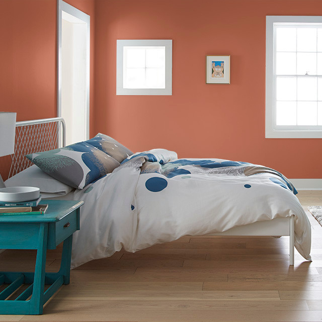 Bedroom painted in SPICY TWIST