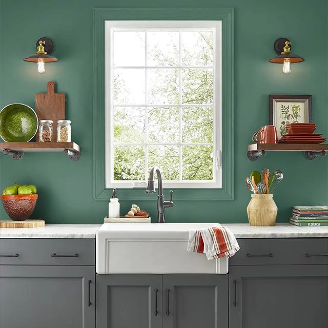 Kitchen painted in SERRANO PEPPER