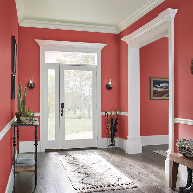 Foyer painted in ATOMIC RED