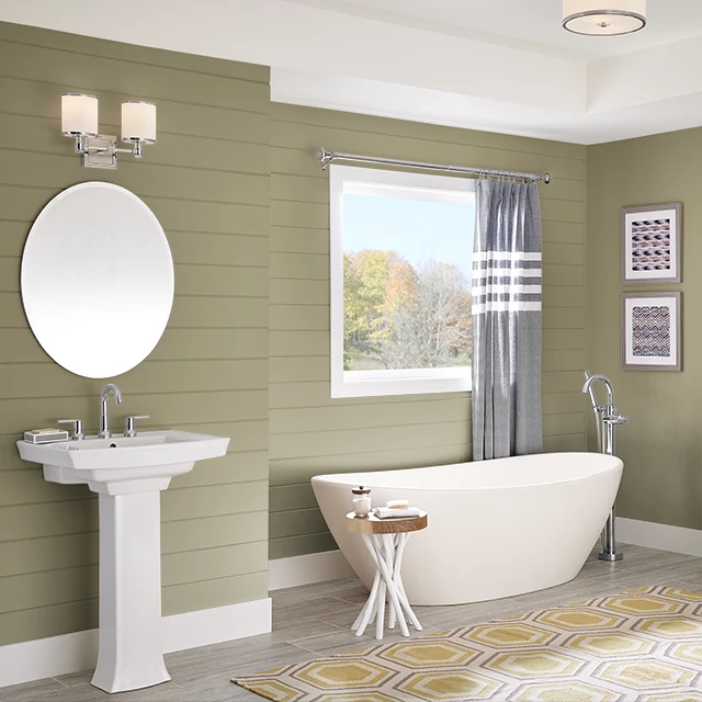 Bathroom painted in WINTER GRASS
