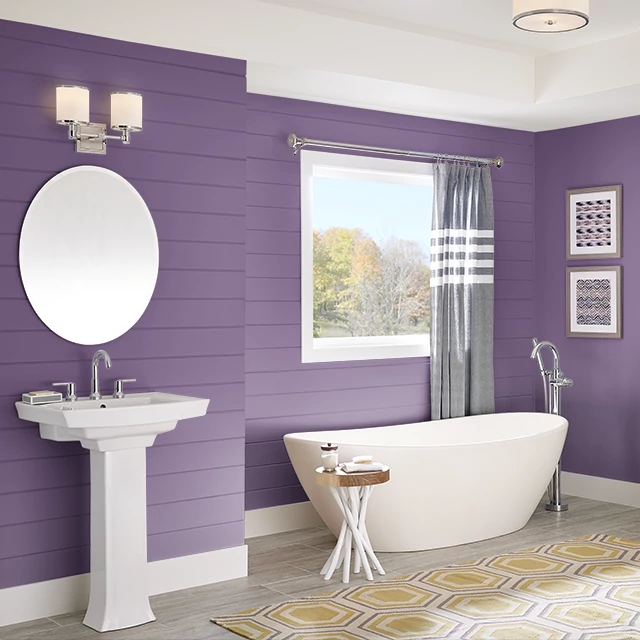 Bathroom painted in SUPER VIOLET