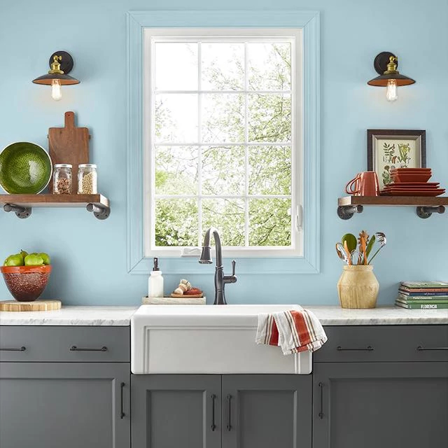 Kitchen painted in COOL VISTA