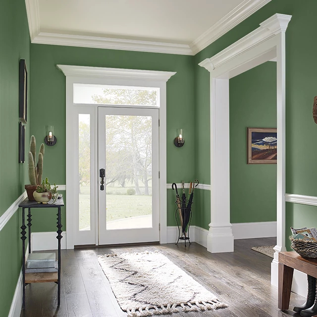 Foyer painted in FLOWER LEAF