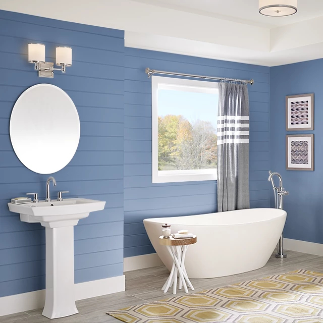 Bathroom painted in STYLISH BLUE