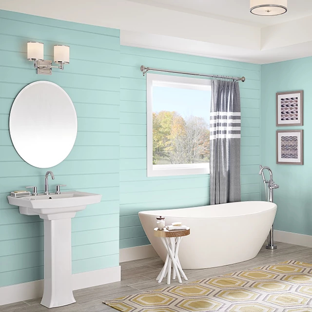 Bathroom painted in VINTAGE AQUA