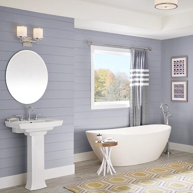Bathroom painted in HAZY PURPLE