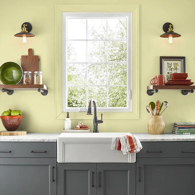 Kitchen painted in SHIMMERING GREEN