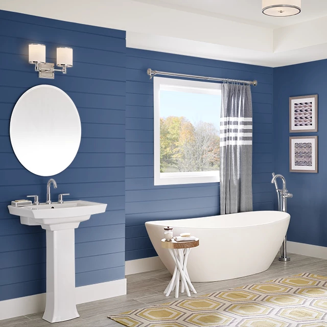 Bathroom painted in INDIGO