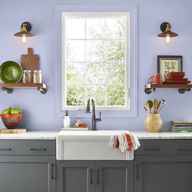 Kitchen painted in PERIWINKLE BLOOM