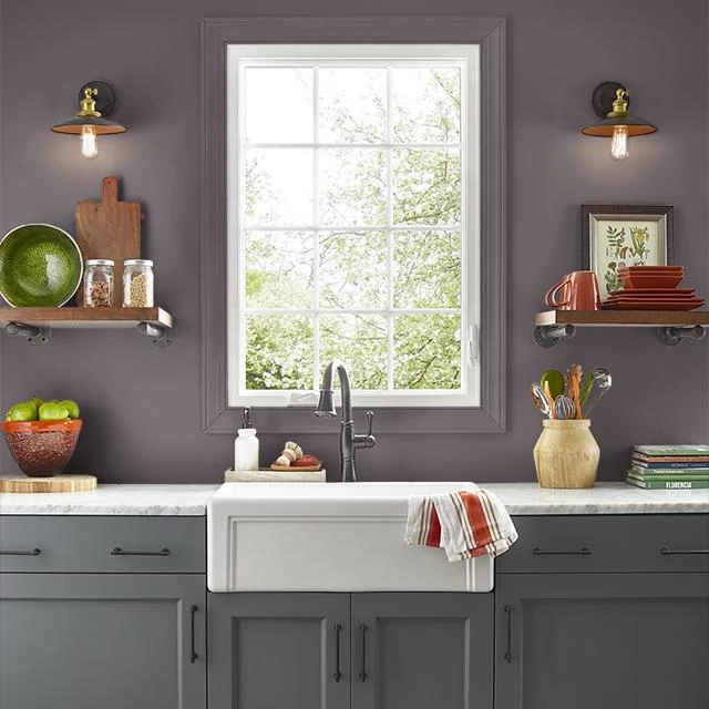 Kitchen painted in MULBERRY