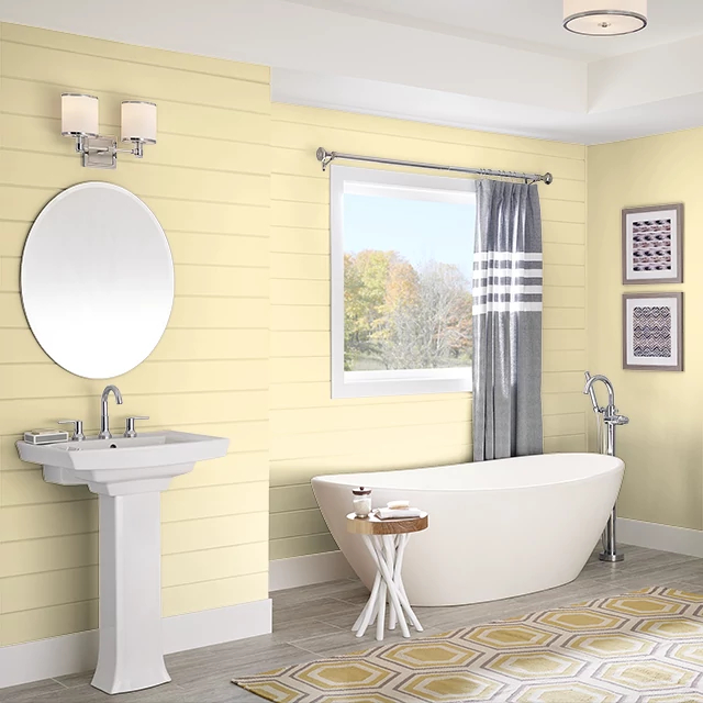 Bathroom painted in STICKY NOTE