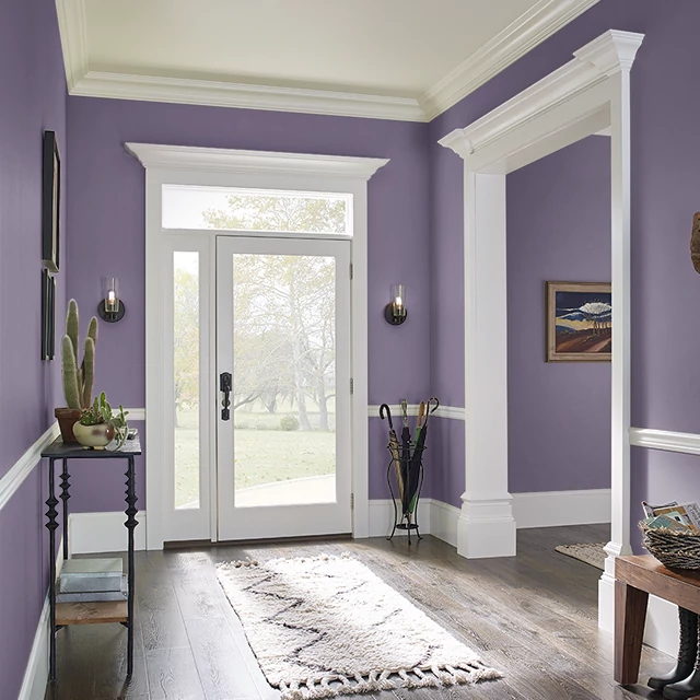 Foyer painted in REGAL PURPLE