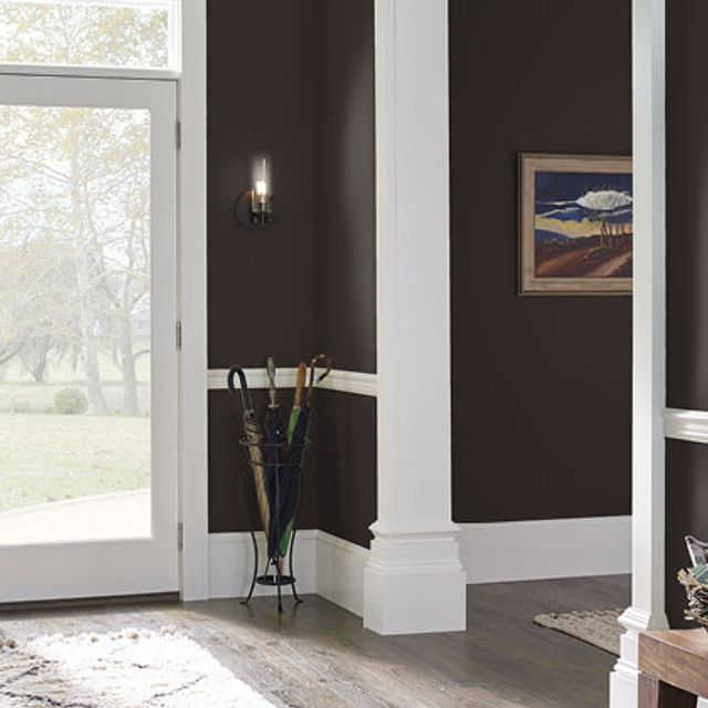 Foyer painted in SPICE BROWN