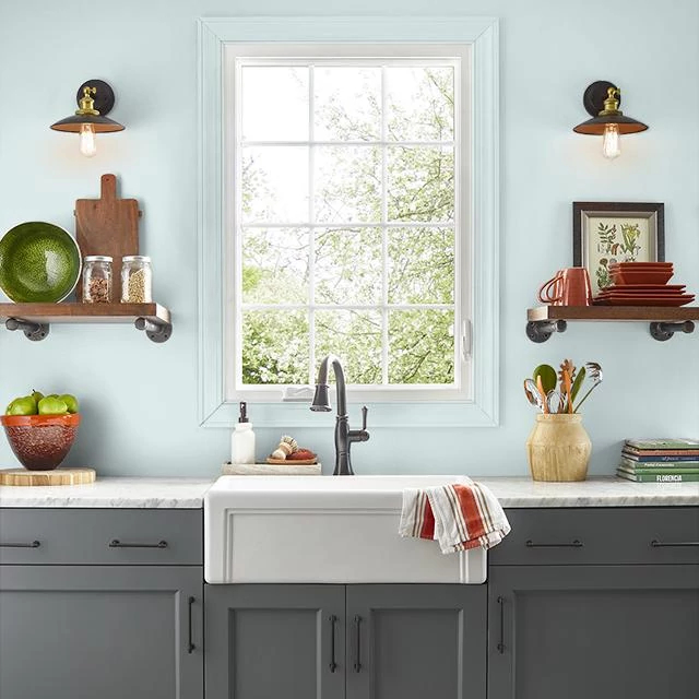 Kitchen painted in AQUA ICE