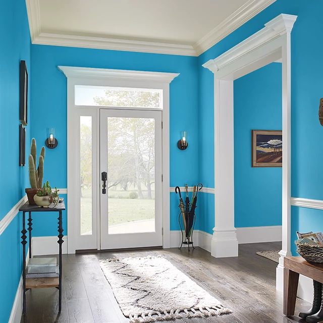 Foyer painted in HERO BLUE