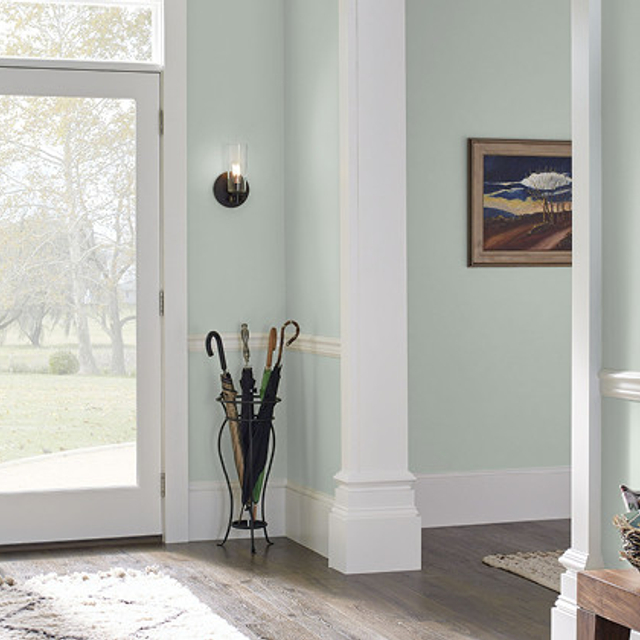 Foyer painted in MISTY MORNING