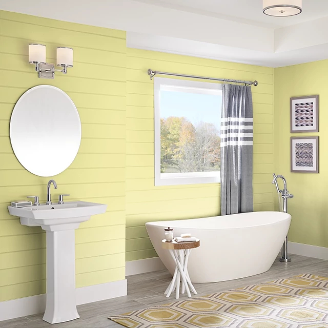 Bathroom painted in YELLOW GREEN