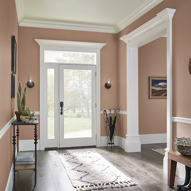 Foyer painted in BURNT SIENNA
