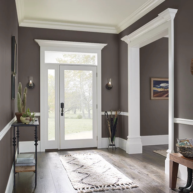 Foyer painted in BLACK BREAD