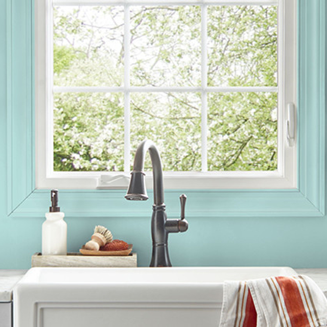 Kitchen painted in SAILING WATER