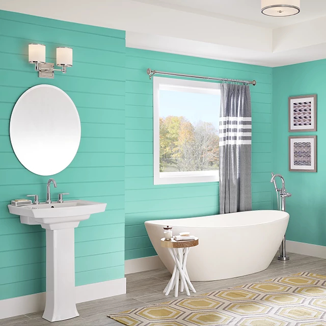 Bathroom painted in BEACH TOY