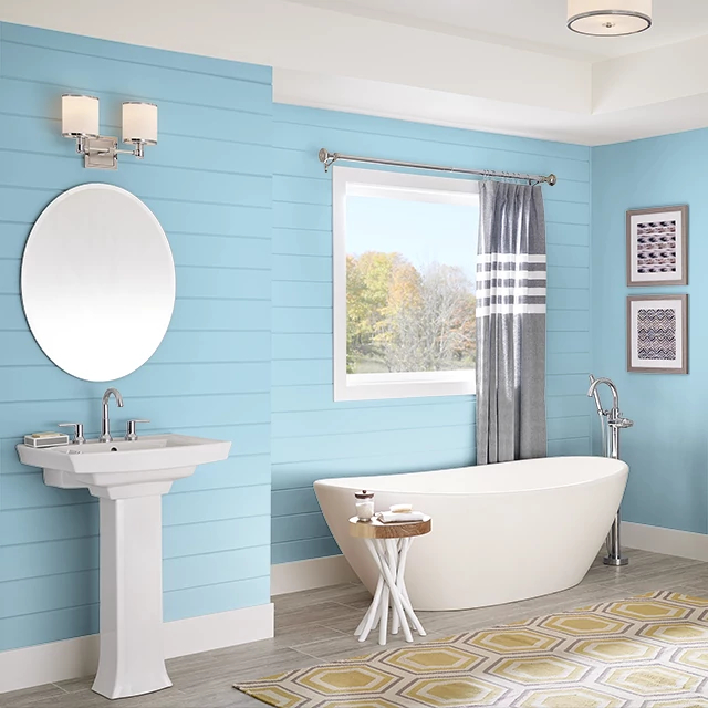 Bathroom painted in BLUE BIRD OF PARADISE