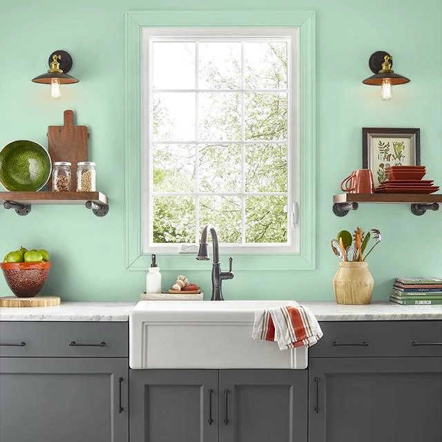 Kitchen painted in GREEN ICING
