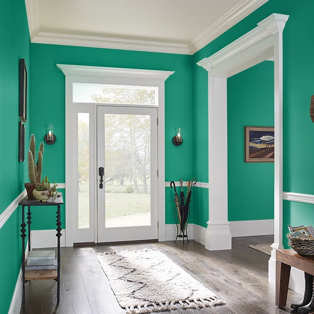Foyer painted in POP OF GREEN