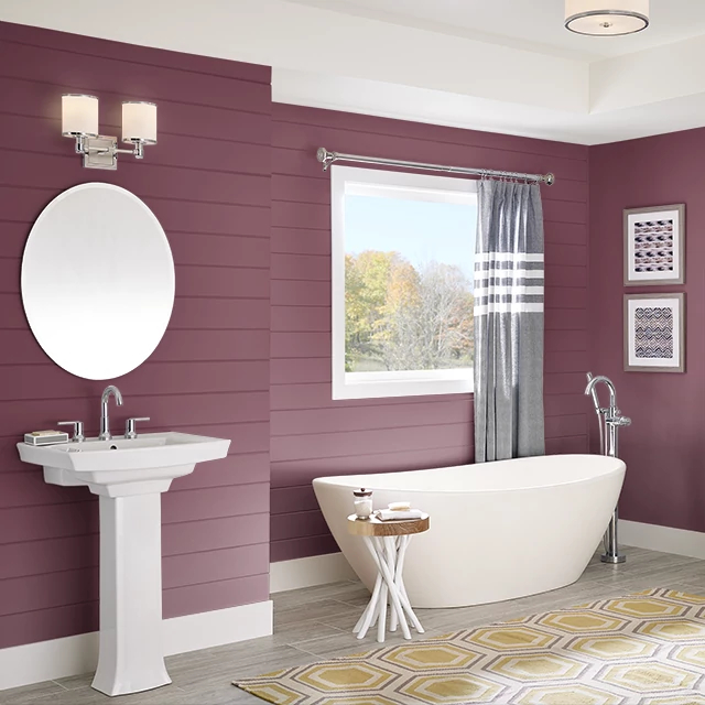 Bathroom painted in RASPBERRY MACAROON