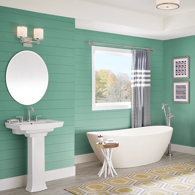 Bathroom painted in EMERALD STREAM