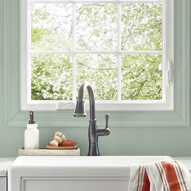 Kitchen painted in STATUE GREEN