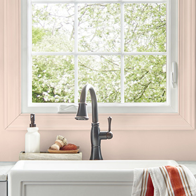 Kitchen painted in ANGELIC PINK