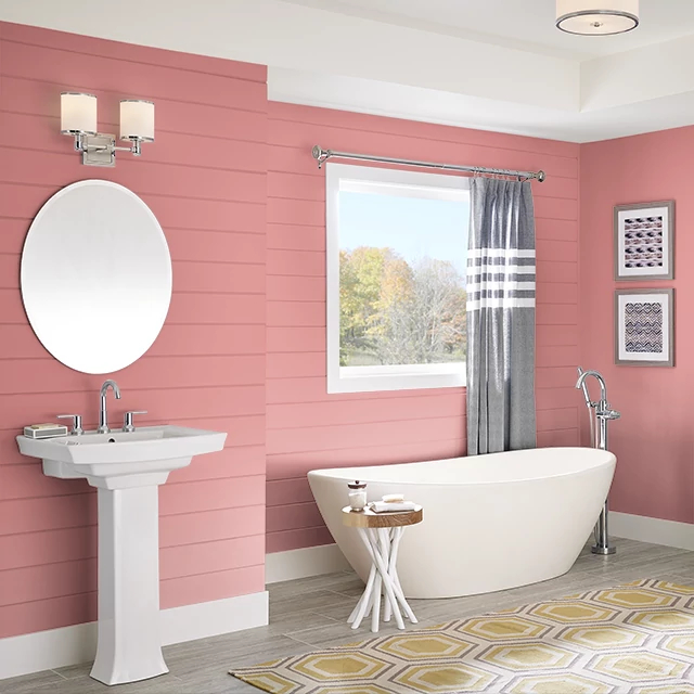 Bathroom painted in COOL WATERMELON