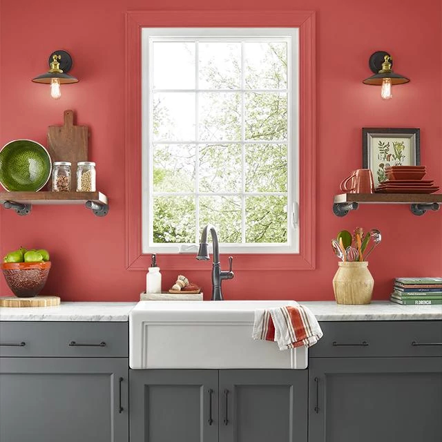 Kitchen painted in ATOMIC RED