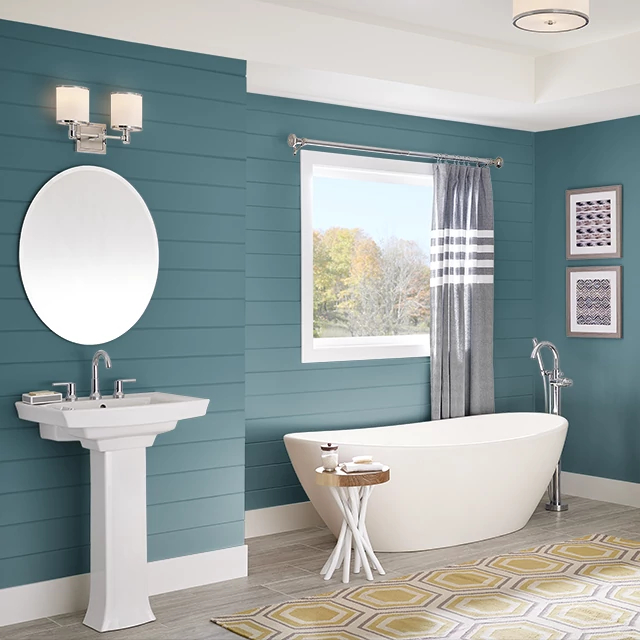 Bathroom painted in WHARF BLUE